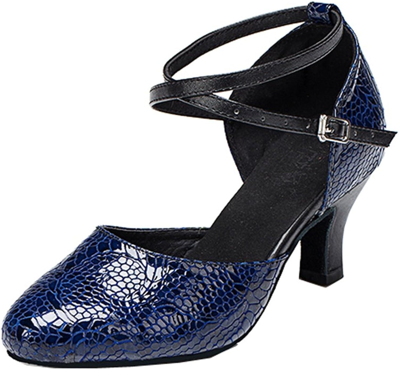 TDA Women's Ankle Strap Mid Heel Snakeskin Buckle Closed Toe Salsa Tango Ballroom Latin Dance shoes