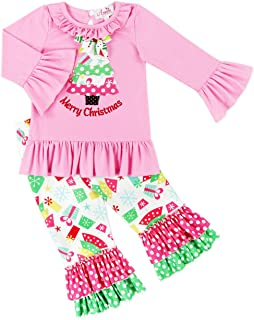 Boutique Clothing Baby Toddler Little Girls Christmas Outfit - Tree, Santa, Snowman Embroidery Clothing Set