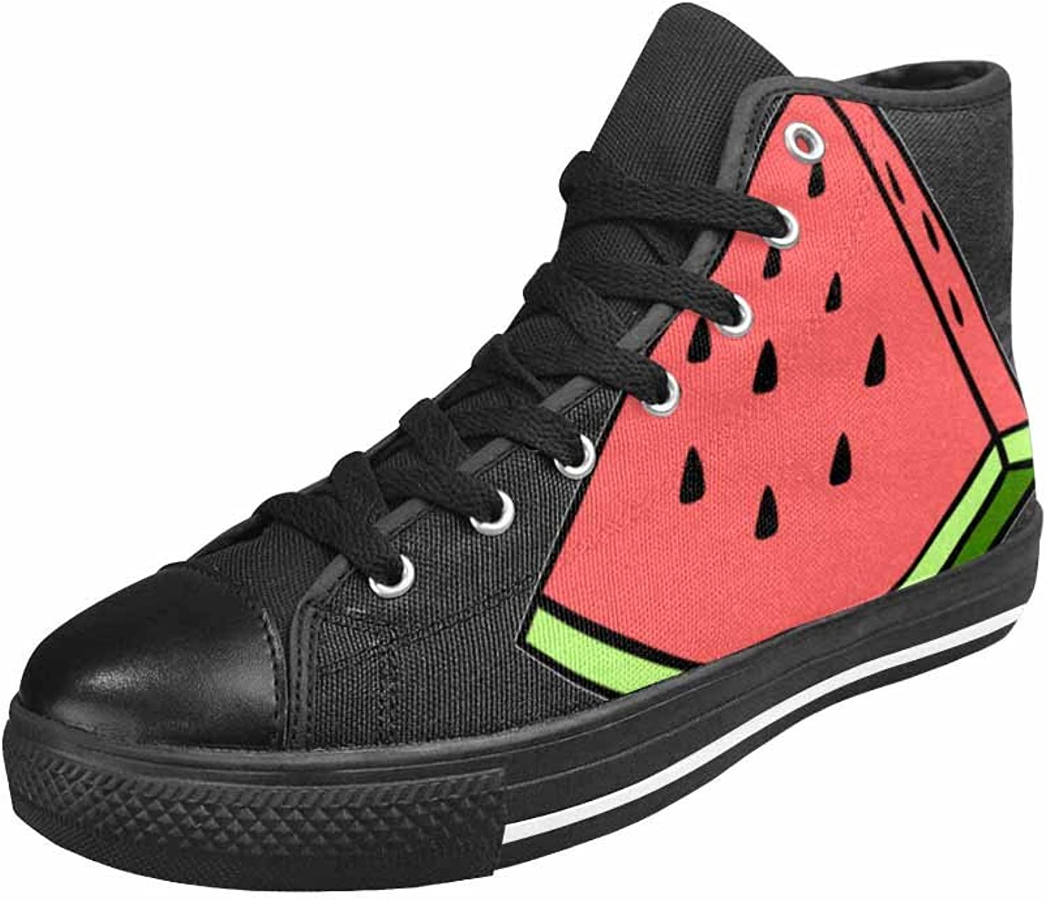 Qchengshix Womens Double Tounge Lace-up Sneaker Canvas Casual Style Comfort shoes So Fresh Watermelon