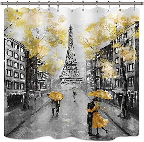 Riyidecor Ölgemälde Paris Duschvorhang-Set Europäische Stadt Landschaft Frankreich Eiffelturm Modern Paar Schwarz Gelb Stoff Wasserdicht Badezimmer Home Decor 183 x 183 cm 12 Kunststoff-Duschhaken