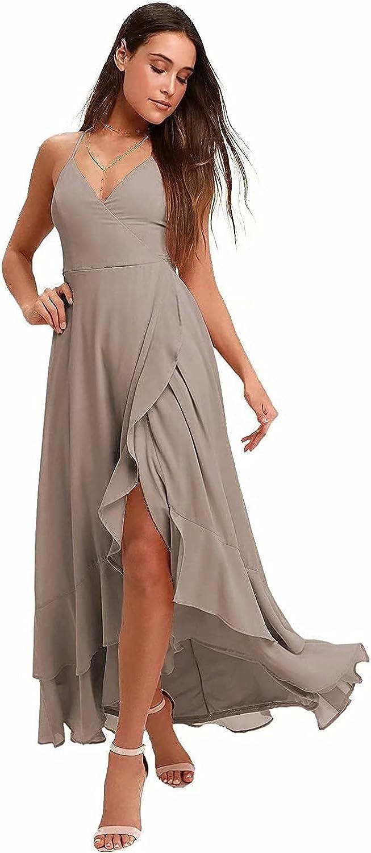 Spaghetti Strap Chiffon Bridesmaid Dresses Long for Women Wedding V Neck Slit High Low Prom Formal Maxi Gown