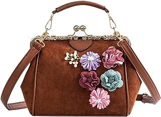 ZOZOE Stylish Women Crossbody Bag Flower PU Shouder Bag Handbag for Dating Shopping Messenger Bags Cross-Body Top-Handle Shoulder