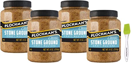 Plochman's Premium Natural Stone Ground Mustard 9 oz (Pack of 4) Bundled with PrimeTime Direct Silicone Basting Brush in a...