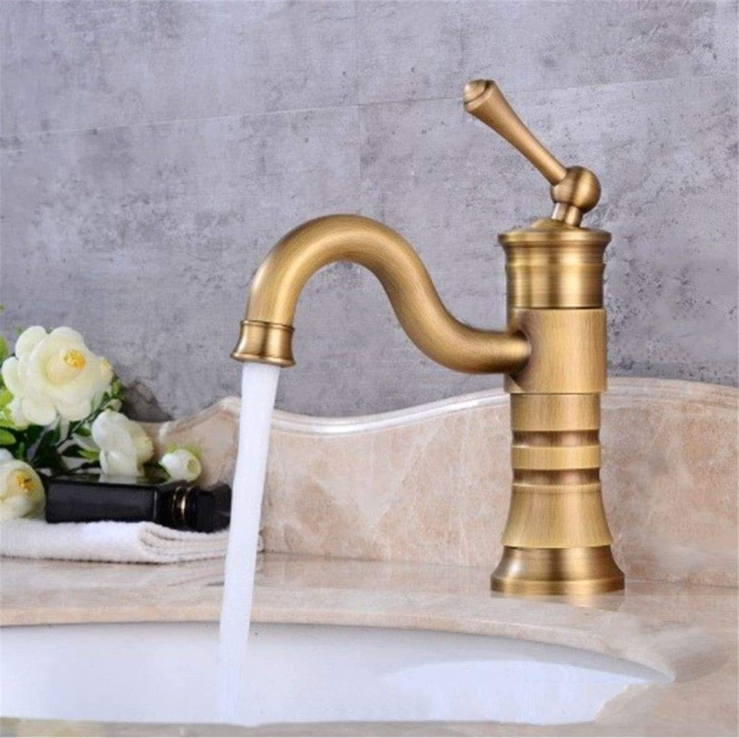 YAWEDA Ancient redary Bathroom Sink Tap Cold and Hot Water Mixer Single Hand Strip Aerator,Middle and High Funds