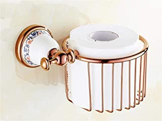 ZHANGY The Whole of Copper Antique Paper Shopping cart, Toilet-Paper Shelf Bathroom Shelving (Pink Color of The Gold)
