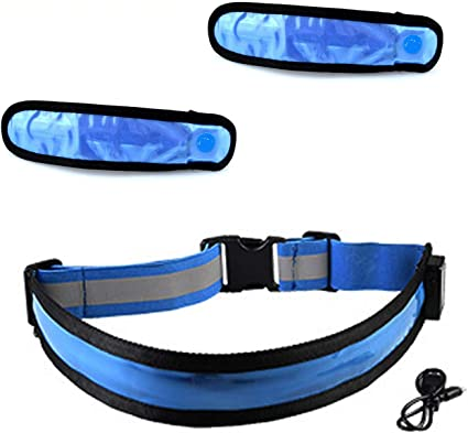 Camping Illumifun LED Running Waist Belt USB Rechargeable Reflective Glowing LED Waistband High Visibility Safety Light Belt for for Running Walking Cycling