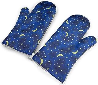 YUHUJUKU Blue Star Moon Heat Insulation Gloves, A Pair of Gloves, A Heat Insulation Mat.(1.6 Inches Thick)
