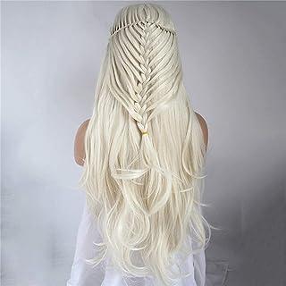 YYCHER High-Density European and Chemical Fiber Wig Front Bud Silk Net Head Cover Beige Braid Long Curly Hair Half Hand-Wo...