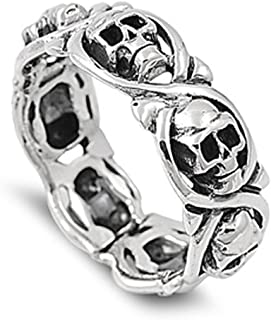 Sterling Silver Women's Mens Biker Infinity Skull Ring Cute Band 8mm Sizes 5-14