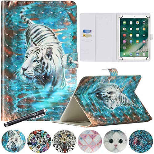 8 Inch Tablet Case, GSFY Magnetic PU Leather Stand Cover for iPad Mini 1/2/3/4/5, Galaxy Tab A/E/S2 8.0, Kindle Fire HD 8, Lenovo, Huawei, Google Other 7.9-8.5'' Models - 3D Walking Tiger