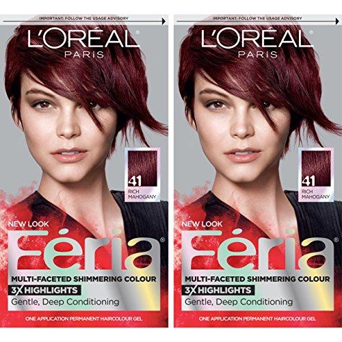 L'Oreal Paris Feria Multi-Faceted Shimmering Permanent Hair Color, 41 Crushed Garnet, Pack of 2 Hair Dye