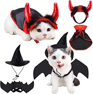 Brobery Halloween Pet Costume for Cats - Pet Bat Wings, Vampire Cloak, Witch Hat and Devil Horn for Pet Holiday Cosplay Party, Cute Funny Pet Costume for Cats and Small Dogs