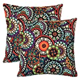Wionee Bohemian Throw Pillow Covers 18x18 Inch, Circle Pattern, Cotton Blend Linen, Pack of 2-Decorative Outdoor Pillows Case Covers for Couch Sofa Bed Living Room