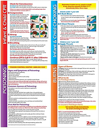 Child & Infant CPR Poster - Choking Poster - Poison and Burns First Aid Sign - Baby CPR Instructions - Heimlich Maneuver Chart - 17 x 22 Inches, Laminated