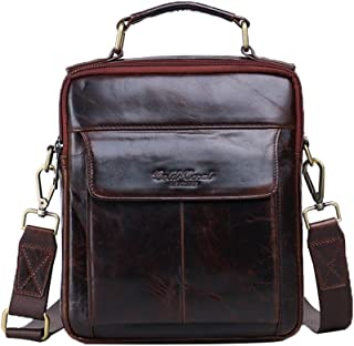Genda 2Archer Men's Leather Shoulder Briefcase Business Bag Messenger Satchel Bag Ipad Mini Pack One Size Red Brown
