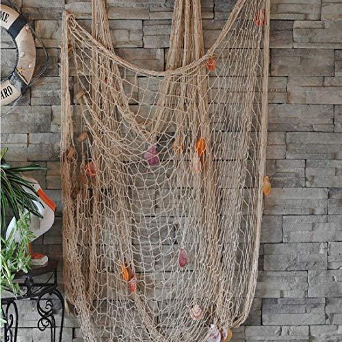 DEWEL Fischernetz mit Muscheln, Fischernetz Deko mit Farbigen Muscheln Maritime Deko Netz Dekoratives Fischnetz für Wand Party Zimmer Dekoration, 150 x 200 cm, Weiß