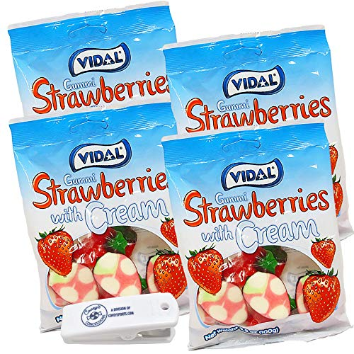 Vidal Gummy (Gummi) Strawberries with Cream - (4-Pack, 3.5 oz. Bags) - Strawberry Gummies Bundled with Covey's Concessions Clip