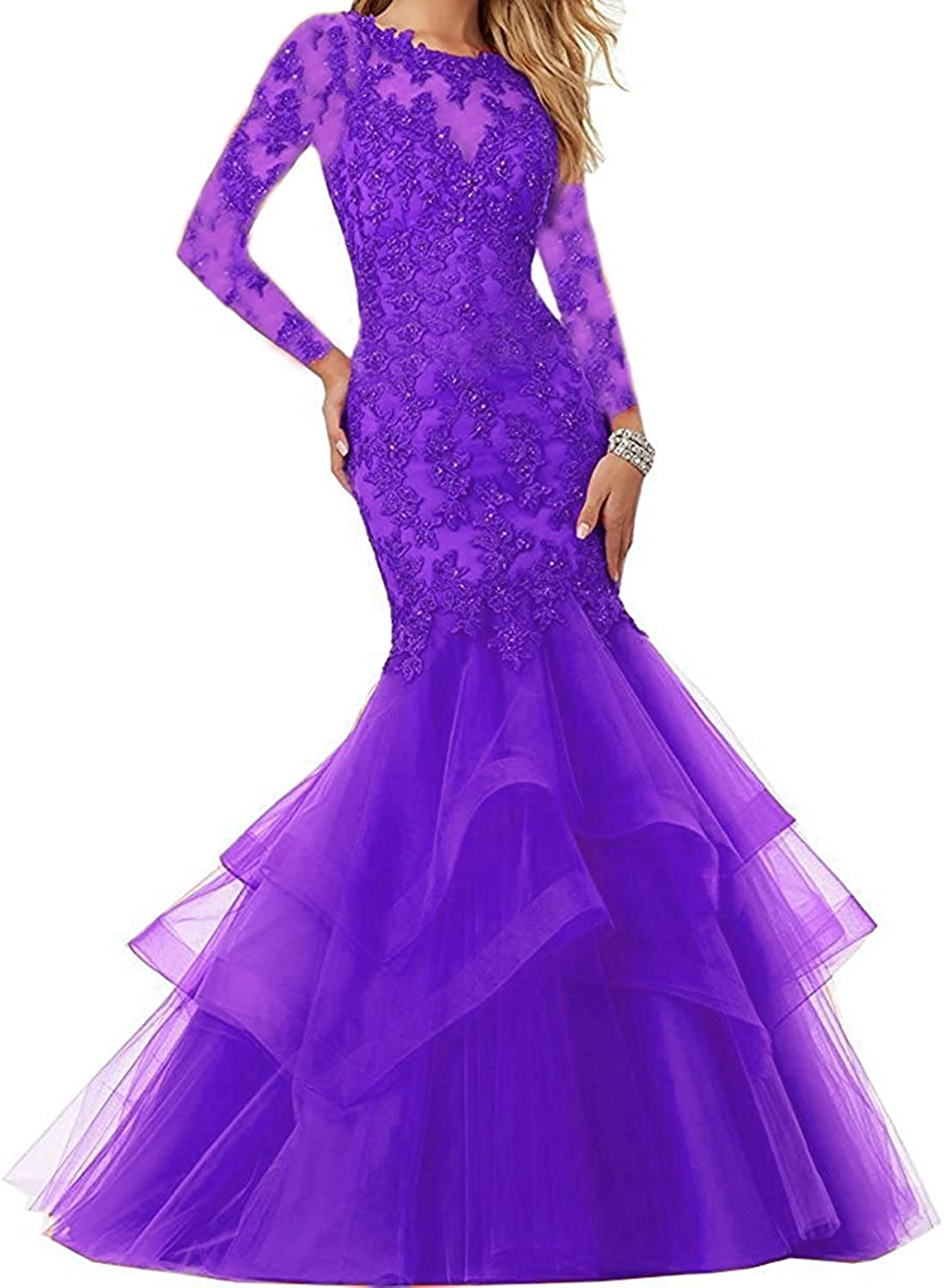 Bonnie Sexy Mermaid Two Piece Prom Dresses Long Beaded Lace Formal Prom Ball Gowns