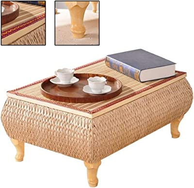 Bay Window Table Bed Table Balcony Platform Small Coffee Table Fashion Environmental Protection Solid Wood Table Grass Woven Tea Table Tatami Small Coffee Table (Color : Brown, Size : 60 * 40 * 30cm)