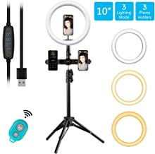 MOUNTDOG 10'' Selfie Ring Light with Tripod Stand and Phone Holder, Led Ring Light with Wireless Remote 3 Modes & 10 Brightness for Makeup Beauty,YouTube Video, Live Streaming, Portrait Shooting
