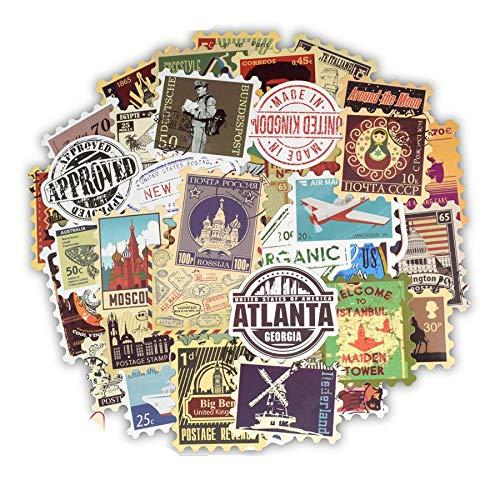 Ligoi Cincuenta Sellos Antiguos, calcomanías de Juguete, calcomanías de Viajes, Edificios, calcomanías Postales, Cajas de Guitarras, Cuadernos de Notas, Bicicletas.