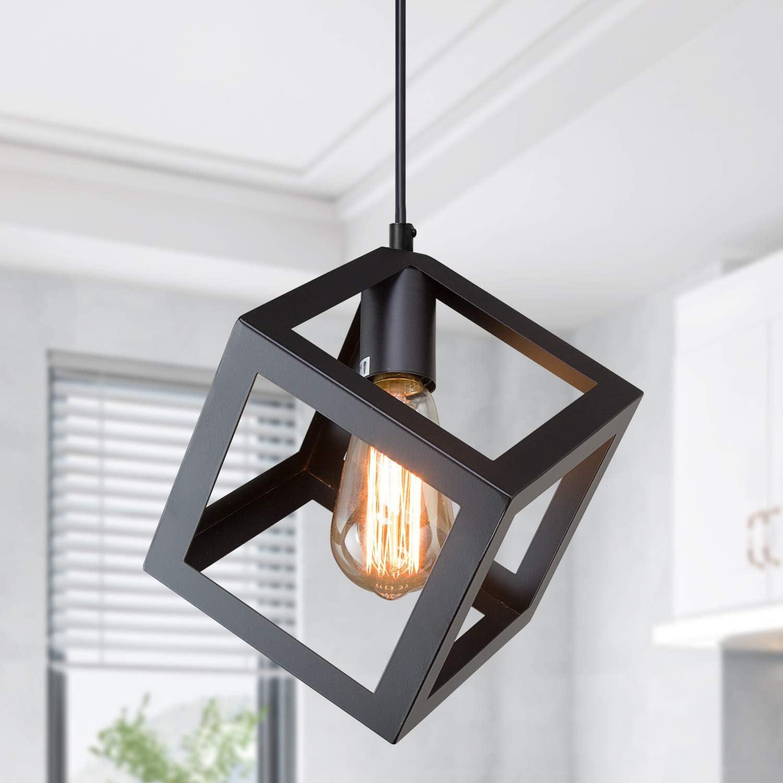 Modern Pendant Lighting For Kitchen Island Farmhouse Hanging Light Fixture Ceiling Geometric Pendant Lighting For Dining Room Matte Black 6 3 Inches Amazon Com