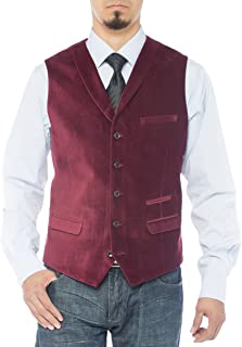 LN LUCIANO NATAZZI Men's Shawl Lapel Velvet Waistcoat Modern Fit Dress Suit Vest