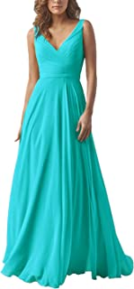 c43cef32c59 Yilis Double V Neck Elegant Long Bridesmaid Dress Chiffon Wedding Evening  Dress