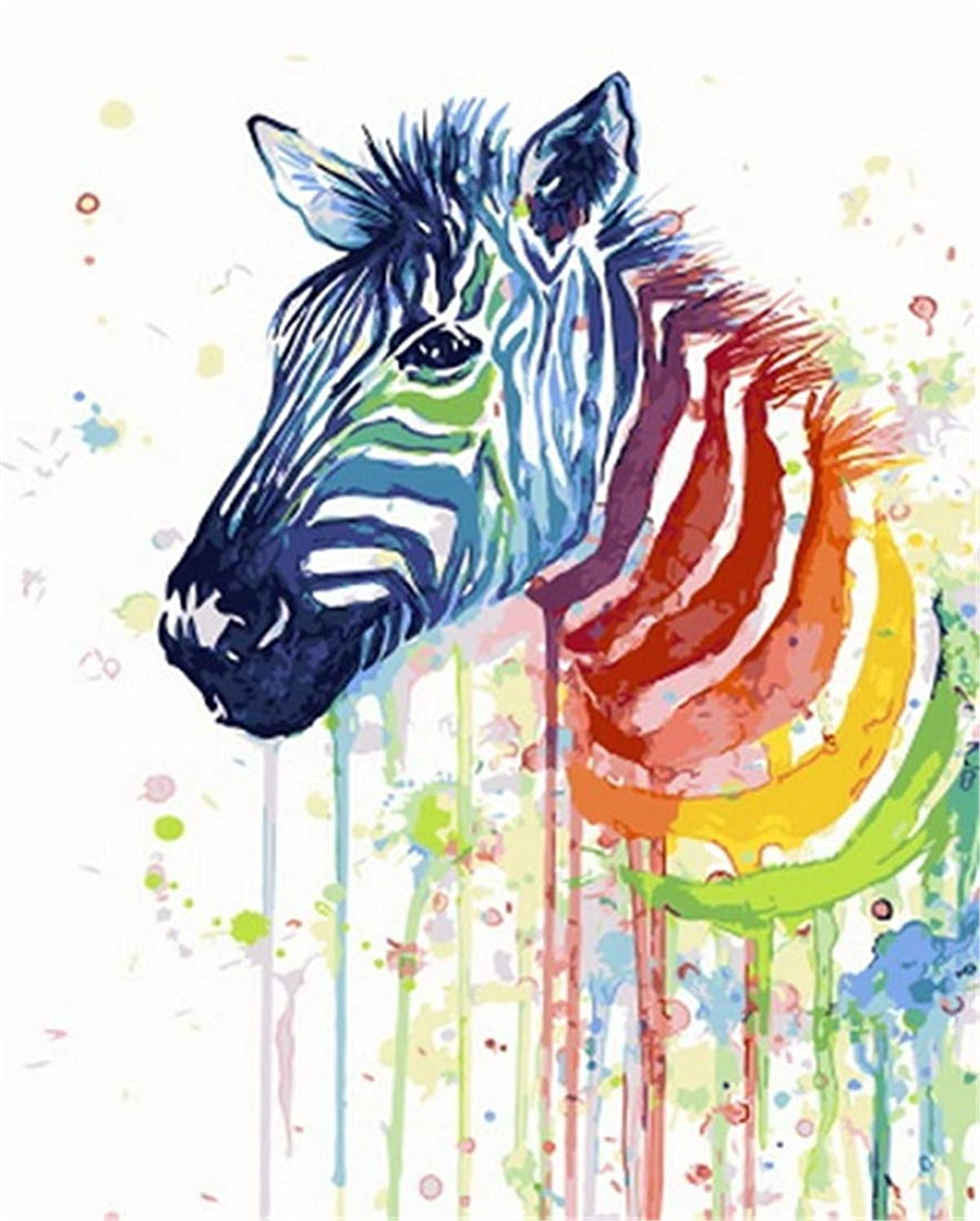DIY Oil Painting Paint by Number Kit for Kids Adults Beginner 16x20 inch - Color Zebra, Drawing with Brushes Christmas Decor Decorations Gifts (Frame) (Without Frame)
