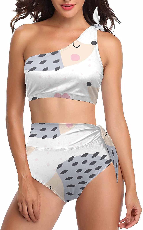 InterestPrint Cute Blue Whale Women's Tie Crop Top Swimwear Bikini Sets One Shoulder Swimsuits