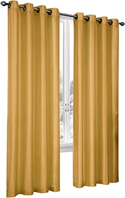 Fresh From Loom Faux Silk Blackout Window Curtain Eyelet (5 ft, Cyber Yellow)