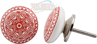 Cabinet Knob/Drawer Pull/Ceramic Handles/Cupboard Knob/Drawer Pull/Vintage Shabby Chic/Hand Painted Knob/Handmade Knob/Assorted Knob by The Metal Magician (Red Wheel (Flower) 12Pcs)
