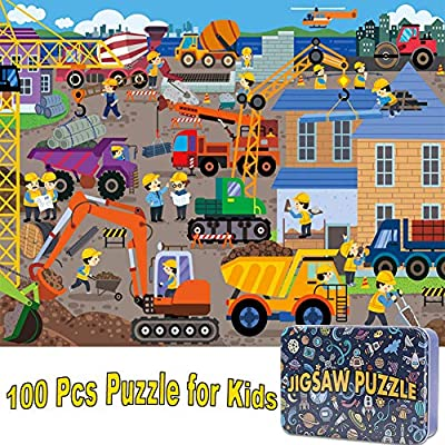 NEILDEN Puzzles for Kids in a Metal Box 100 Piece Jigsaw Puzzle for Kids Ages 4-8 Puzzles for Girls and Boys Great Gifts for Children ( Construction site)