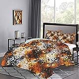 UNOSEKS LANZON - Juego de colcha con diseño de mosaico vintage con curva floral quemada con estampado gráfico abstracto, juego de cama de lujo, fresco, ligero, negro, naranja, gris, tamaño doble