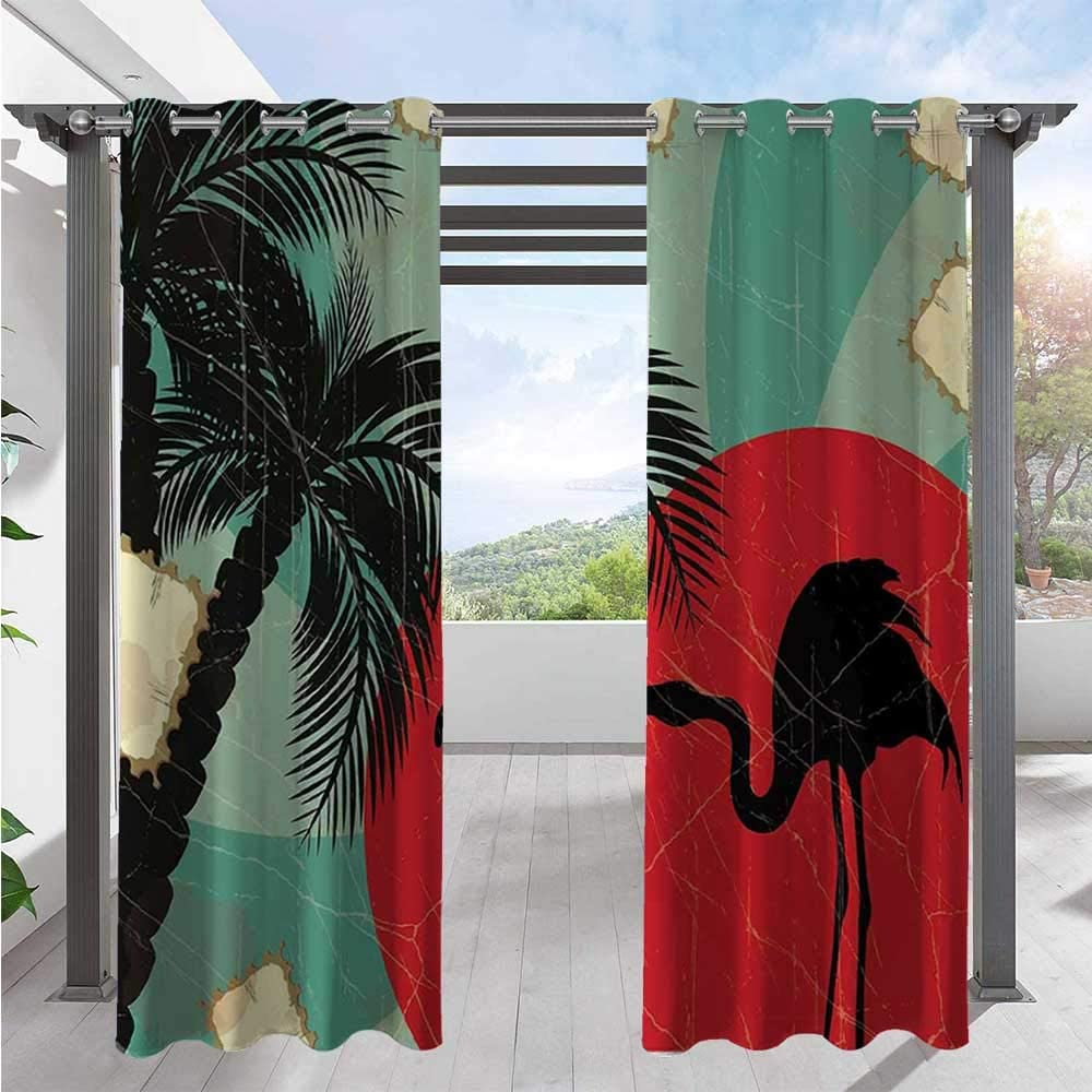 Max 82% Ranking TOP19 OFF Patio Curtain Retro Style Grunge Hawaiian with Flami Composition