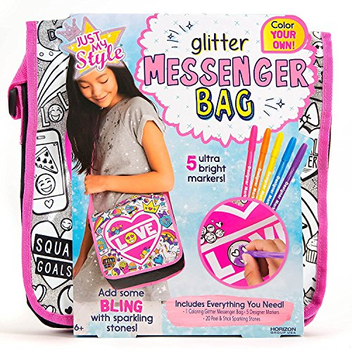 Just My Style Color Your Own Glitter Messenger Bag by Horizon Group USA,Embellish Your Girl Power Purse Using Sparkling Gem Stones & 5 Bright Markers Included,DIY Arts & Crafts Activity Kit,Multicolor