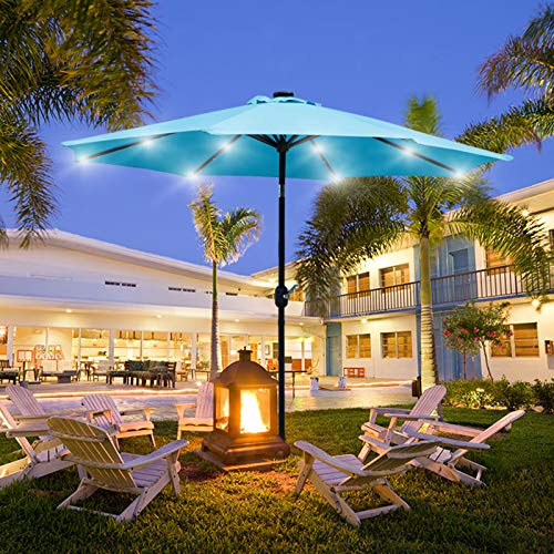 Viewee 9' Solar Patio Umbrella Beach Umbrella, Outdoor Umbrella with 32 LED Lighted and 8 Steel Ribs, Push Button Tilt, and Crank System (Blue)