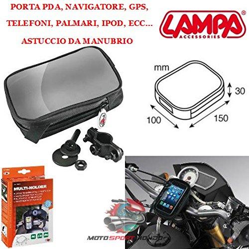Boite DE Guidon Porte Smartphone pour Moto LAMPA 90265 Multi Holder Evo Noir Fixation A Velcro BI-ADHESIF OU Guidon DE Ø 22 à 30 MM