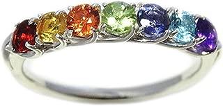 指輪 アミュレット リング 七色 七石 オレンジサファイア ガーネット シトリン ペリドット アイオライト ブルートパーズ アメジスト シルバー 925 (12)