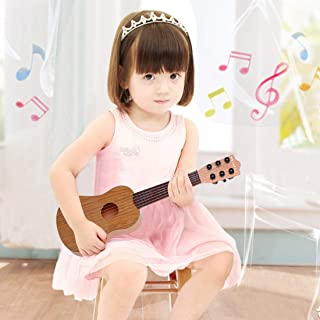 WEY&FLY Kids Toy Guitar 6 String, Baby Kids Cute Guitar Rhyme Developmental Musical Instrument Educational Toy for Toddlers (Brown)