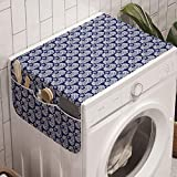 Ambesonne Mosaic Washing Machine Organizer, Mediterranean Cultural Art Style Turkish Ethnic Floral Tiles Illustration, Anti-slip Fabric Cover for Washers and Dryers, 47' x 18.5', Dark Lavender White