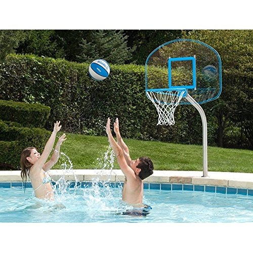 Dunnrite Deck Mounted Clear Hoop Pool Basketball Hoop