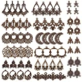 SUNNYCLUE 64pcs 16 Style Tibetan Earring Chandelier Connector Charms Findings Loops Jewelry Making Kit for Earring Drop and Charm Pendant in Storage Box Antique Bronze