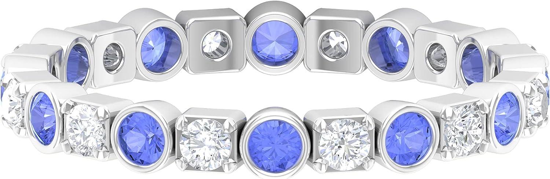 1 CT Tanzanite and Diamond Eternity Band Ring,14K White Gold,Diamond,Size:US 11.50