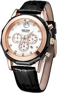 ساعات MEGIR النسائية الوردي مع تاريخ أوتوماتيكي حزام جلد بنفسجي كوارتز