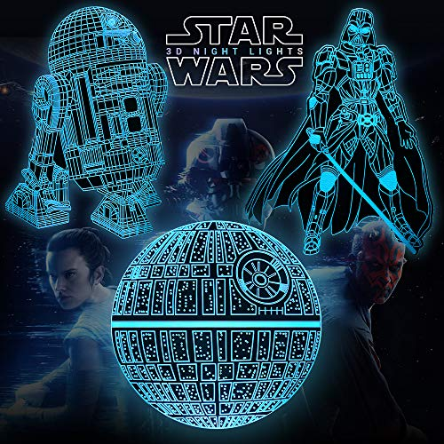 Star Wars Toys Night Light for Kids, Easter Basket Stuffers 16 Color Changing Star Wars Gifts with Remote & Smart Touch, Christmas and Birthday Gifts for Boys Star Wars Fans, Star Wars Toys for Kids
