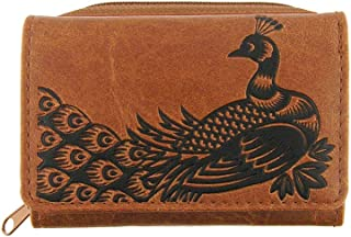 Embossed Peacock Vegan/Faux Leather Trifold Small Wallet