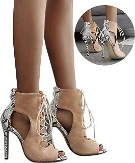 Clearance! Swiusd Women's Stiletto Booties Trendy Snake Print Lace Up Single Shoes Retro Peep Toe Hollow Gladiator Roman Sandals