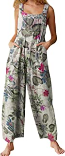 Women Summer Casual Jumpsuit Boho Sleeveless Suspender Overalls Romper Pants with Pockets Bohemian Style Trousers
