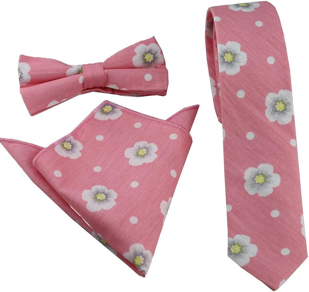 Coachella Ties Pink Flowers Cotton Necktie Skinny Tie Pocket Square Bowtie (Tie+Pocket Square+Bowtie)